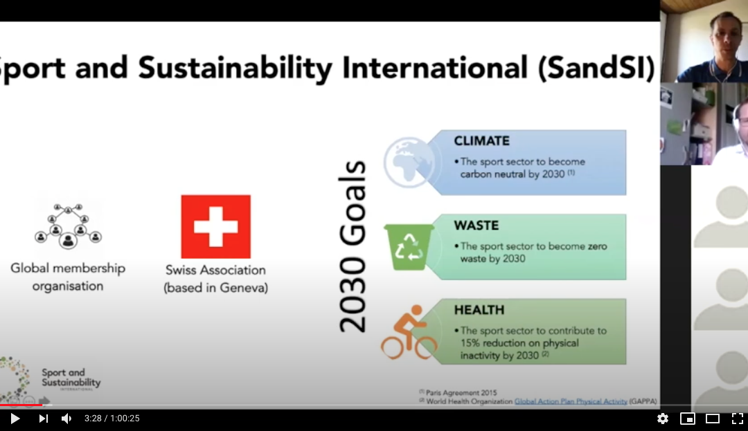 SDG Sport Lab Webinar hosted by SandSI-Sport and Sustainability International